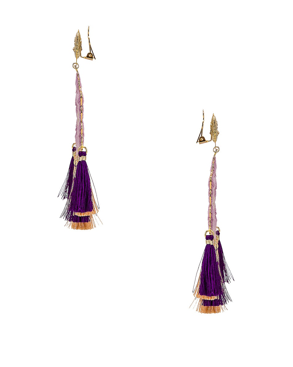 Image 3 of Mercedes Salazar Hibiscus Earrings in Lilac