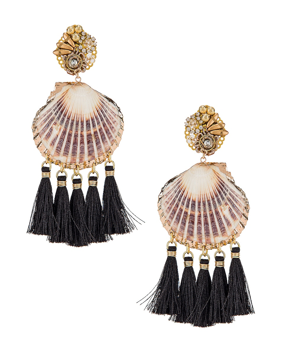 Image 1 of Mercedes Salazar Fiesta Shell Tassel Earrings in Black