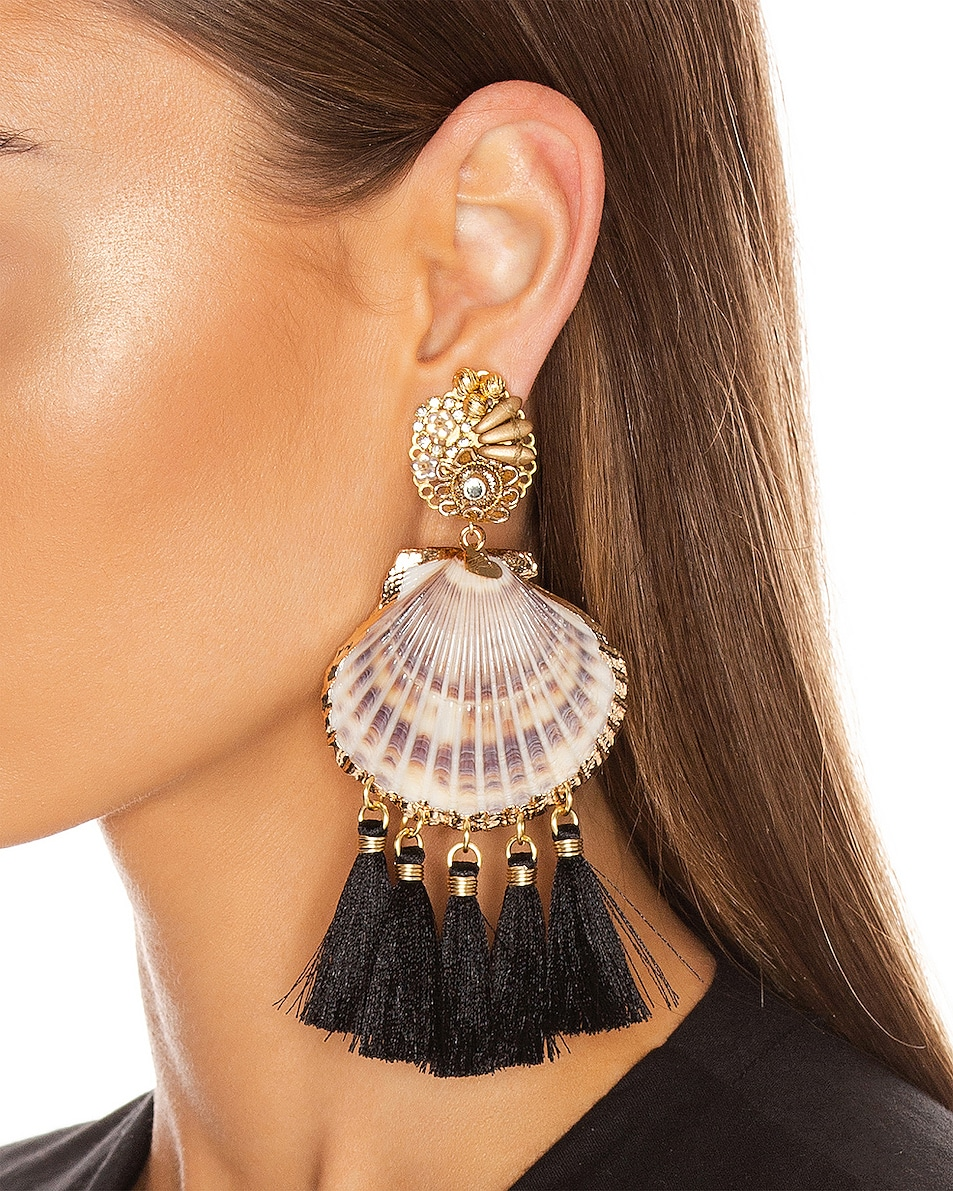 Image 2 of Mercedes Salazar Fiesta Shell Tassel Earrings in Black