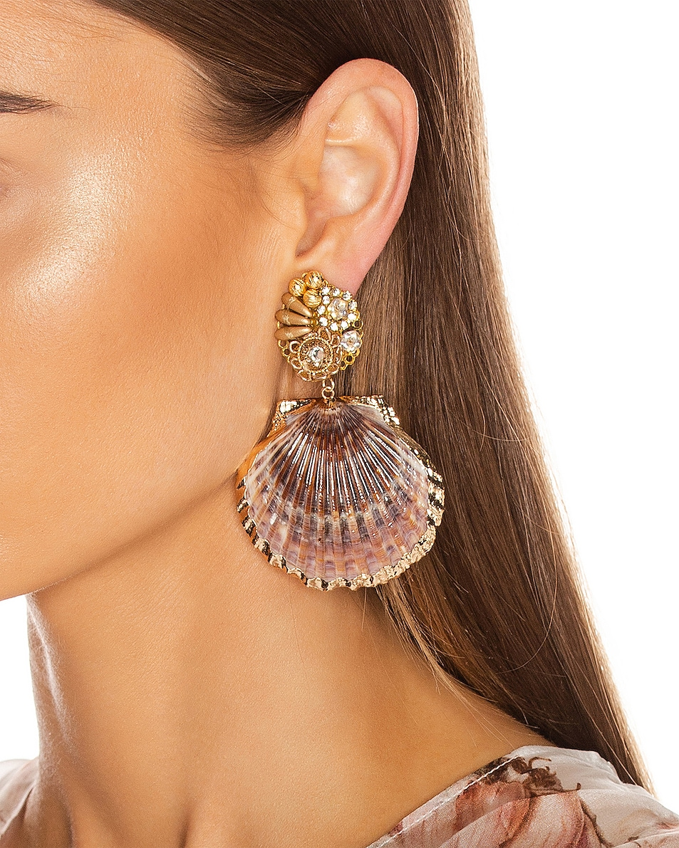 Image 2 of Mercedes Salazar Fiesta Shell Earrings in Natural