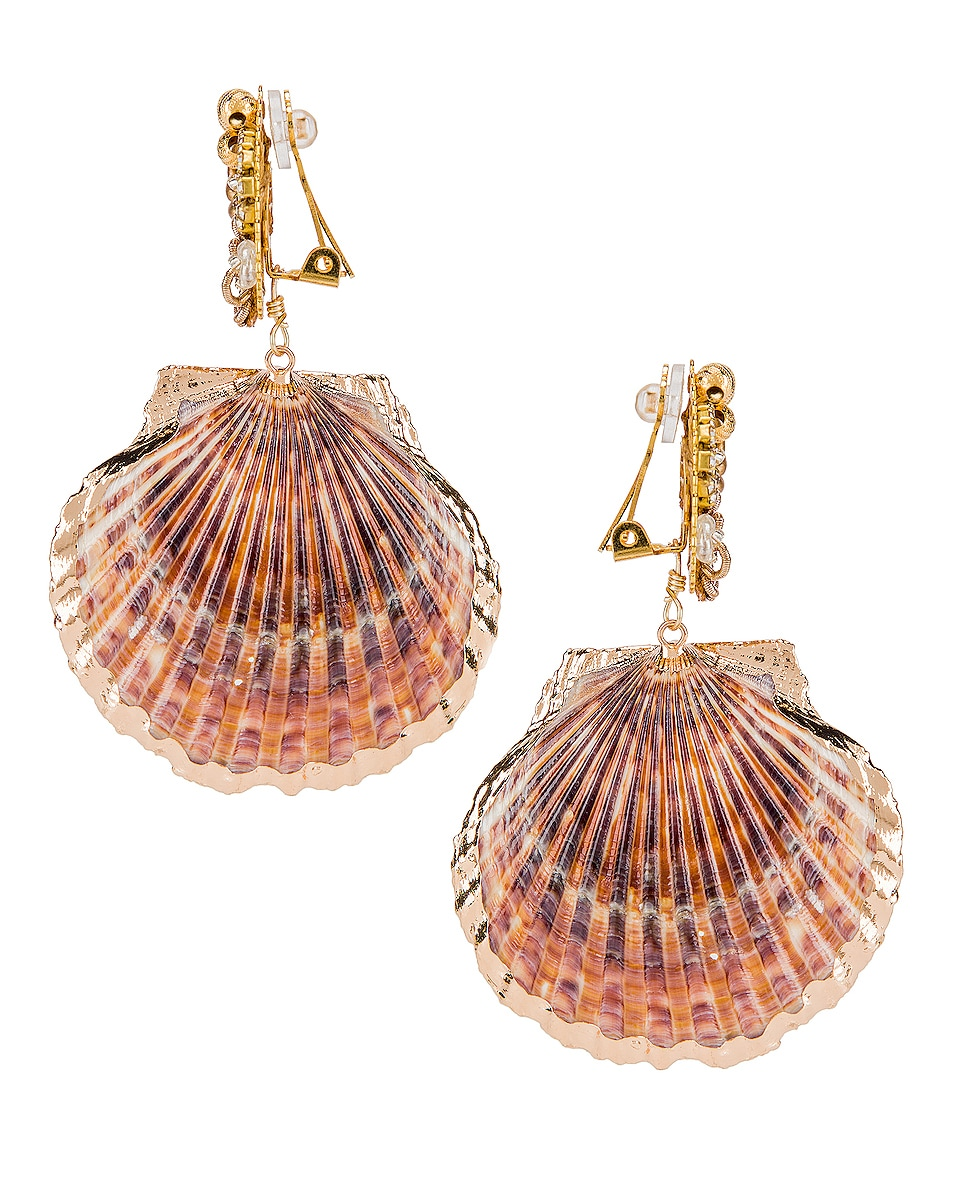 Image 3 of Mercedes Salazar Fiesta Shell Earrings in Natural
