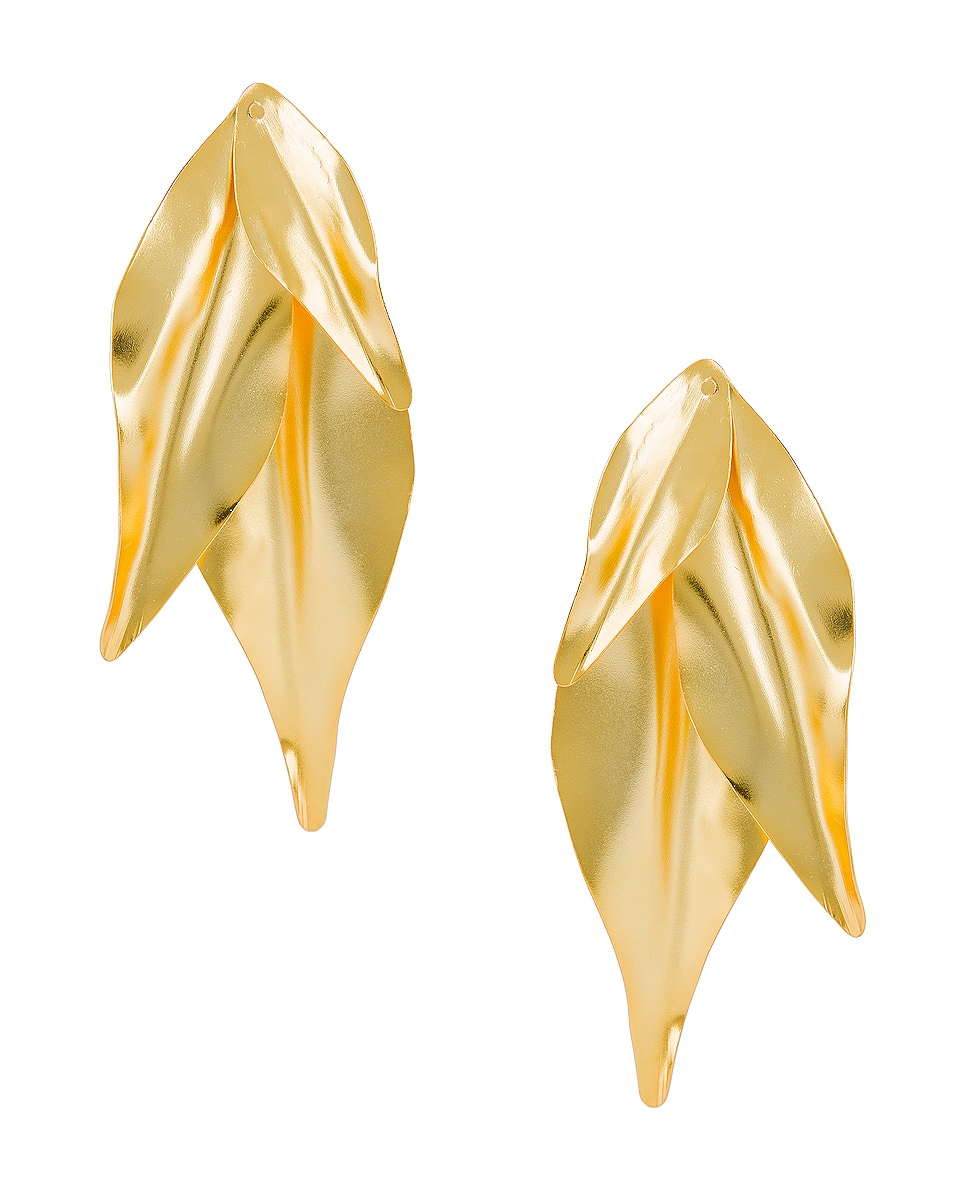 Image 1 of Mercedes Salazar Leaf Earrings in Gold