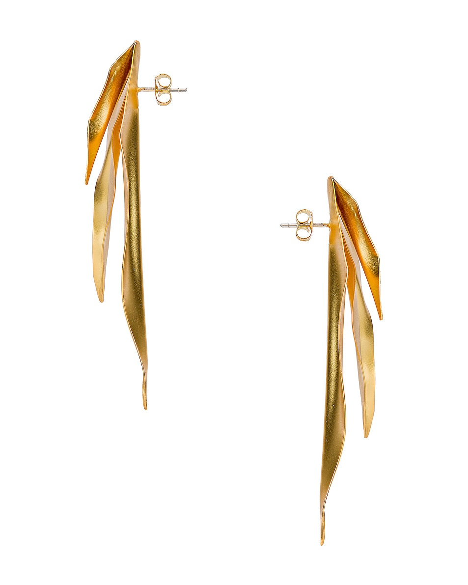 Image 2 of Mercedes Salazar Leaf Earrings in Gold