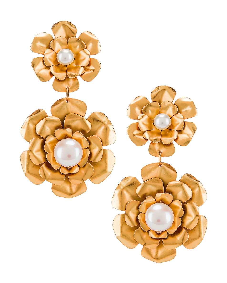 Image 1 of Mercedes Salazar Flower Earrings in Gold