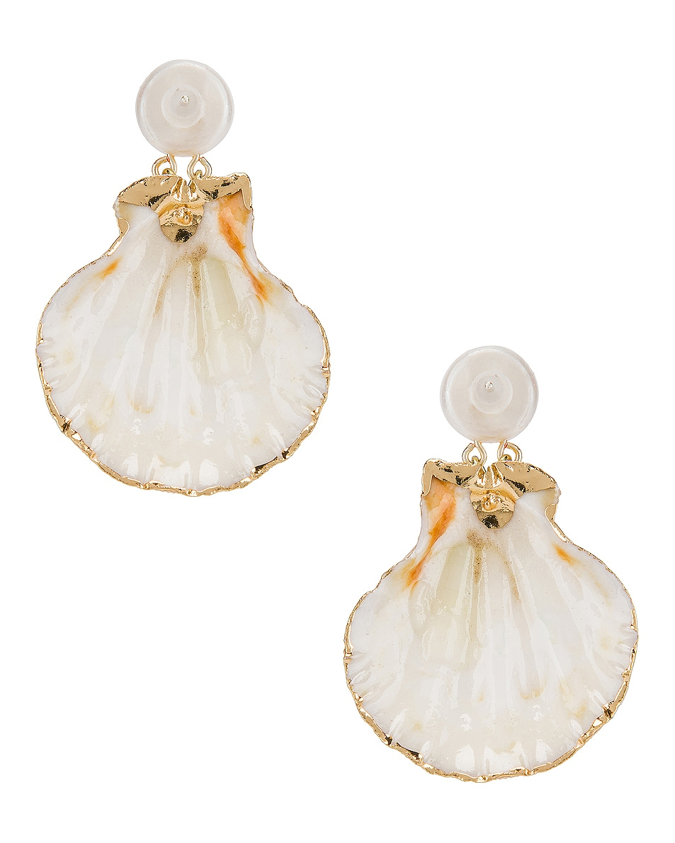Image 1 of Mercedes Salazar Pearl Drop Shell Earrings in White