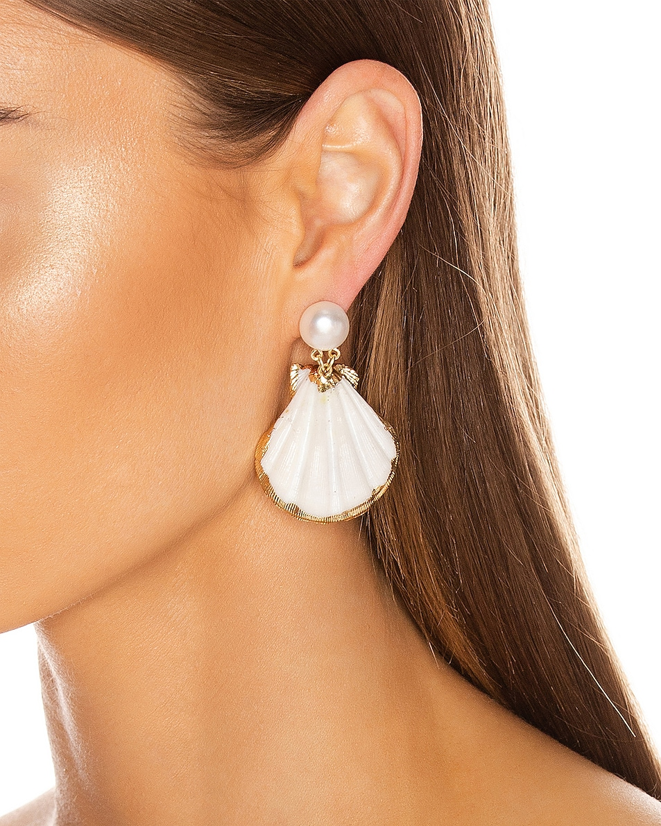 Image 2 of Mercedes Salazar Pearl Drop Shell Earrings in White