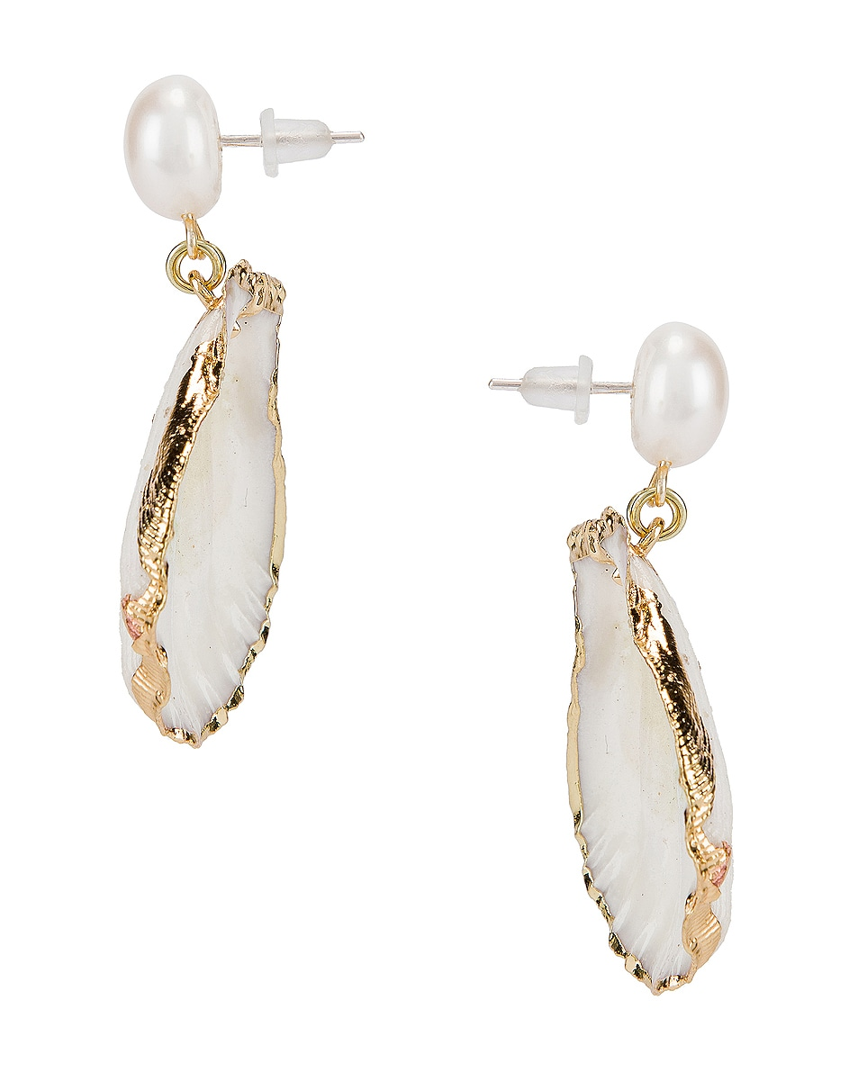 Image 3 of Mercedes Salazar Pearl Drop Shell Earrings in White