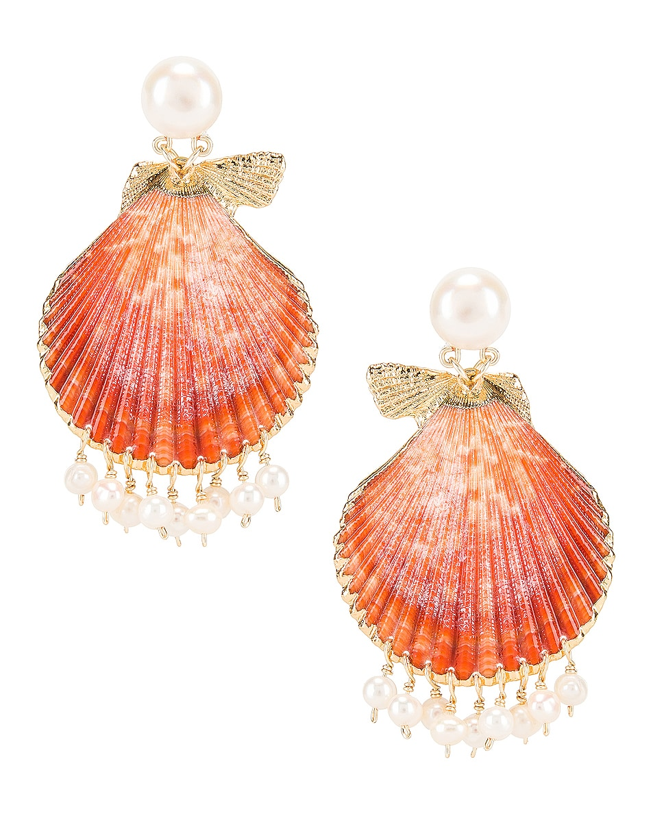 Image 1 of Mercedes Salazar Pearl Tassel Shell Earrings in Peach