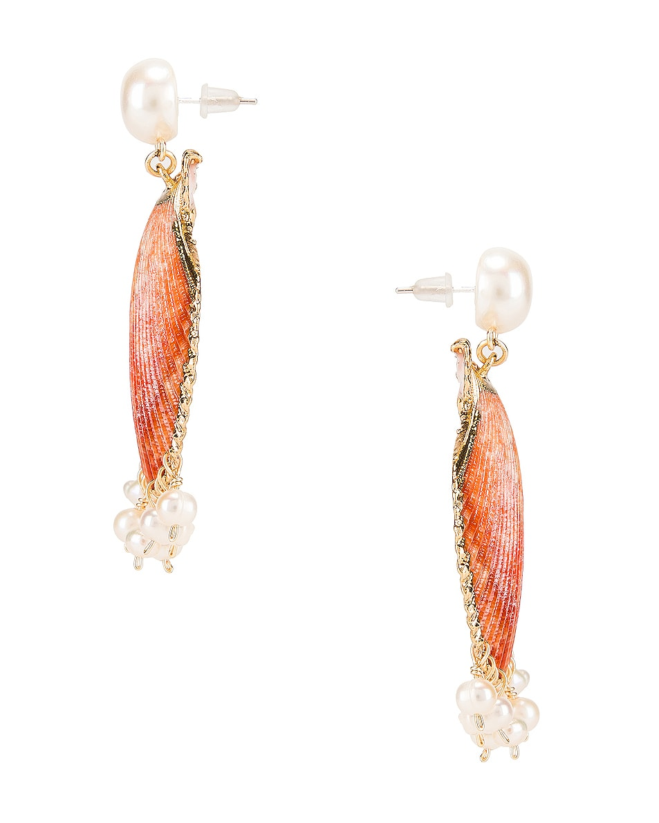 Image 2 of Mercedes Salazar Pearl Tassel Shell Earrings in Peach