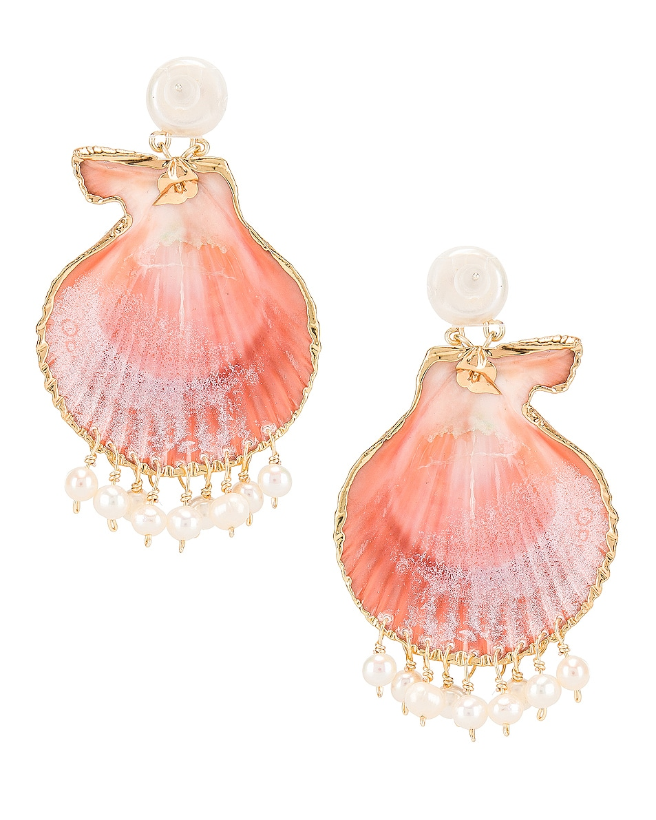 Image 3 of Mercedes Salazar Pearl Tassel Shell Earrings in Peach