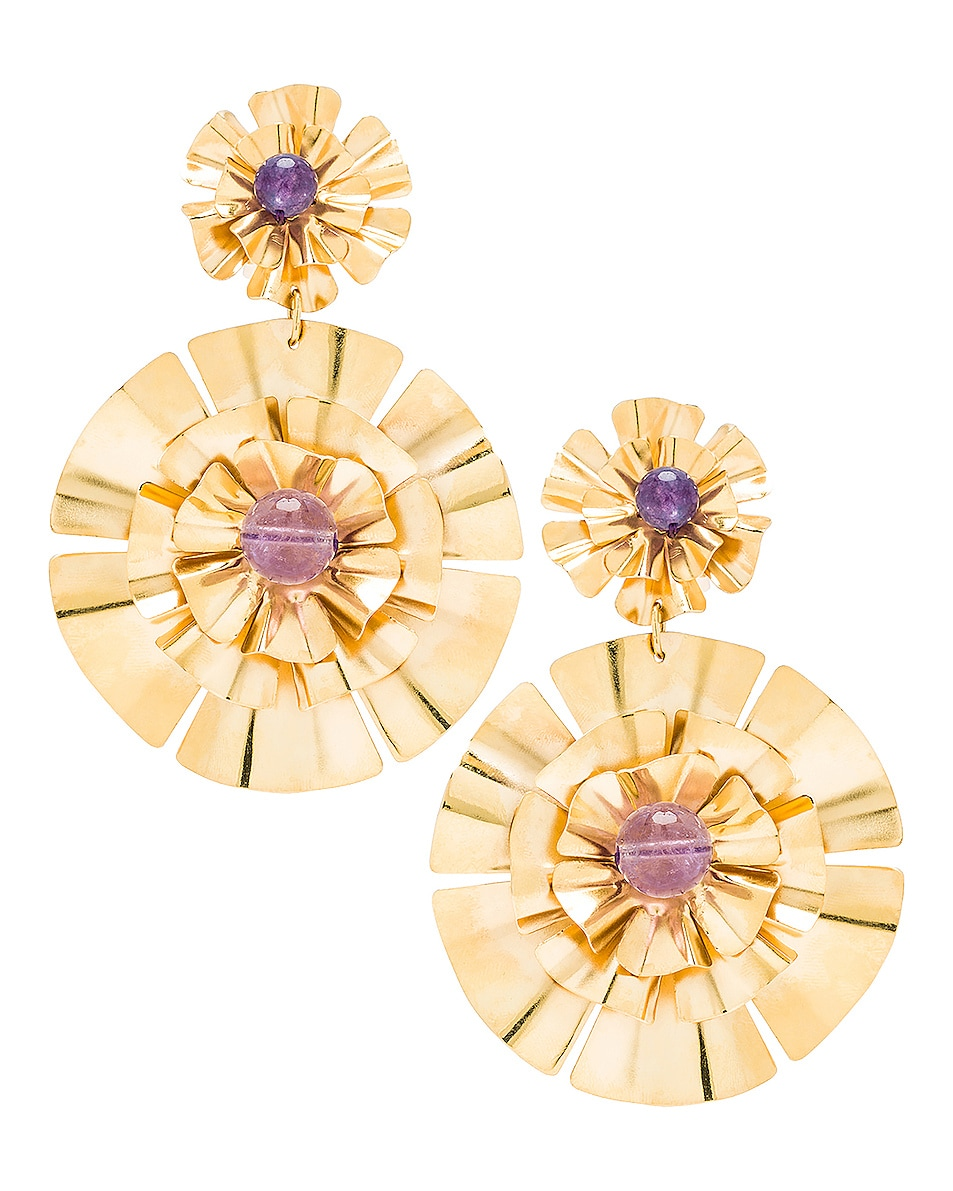 Image 1 of Mercedes Salazar Flor Earrings in Gold & Amethyst
