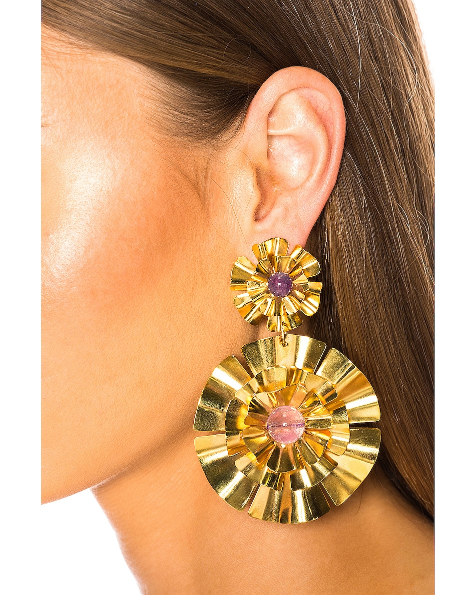 Image 2 of Mercedes Salazar Flor Earrings in Gold & Amethyst