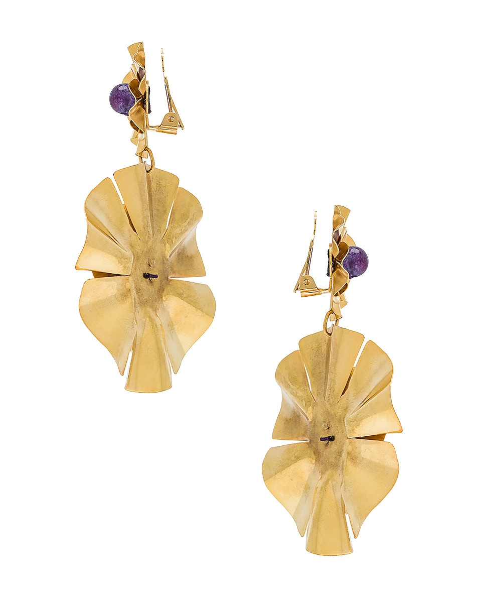 Image 3 of Mercedes Salazar Flor Earrings in Gold & Amethyst