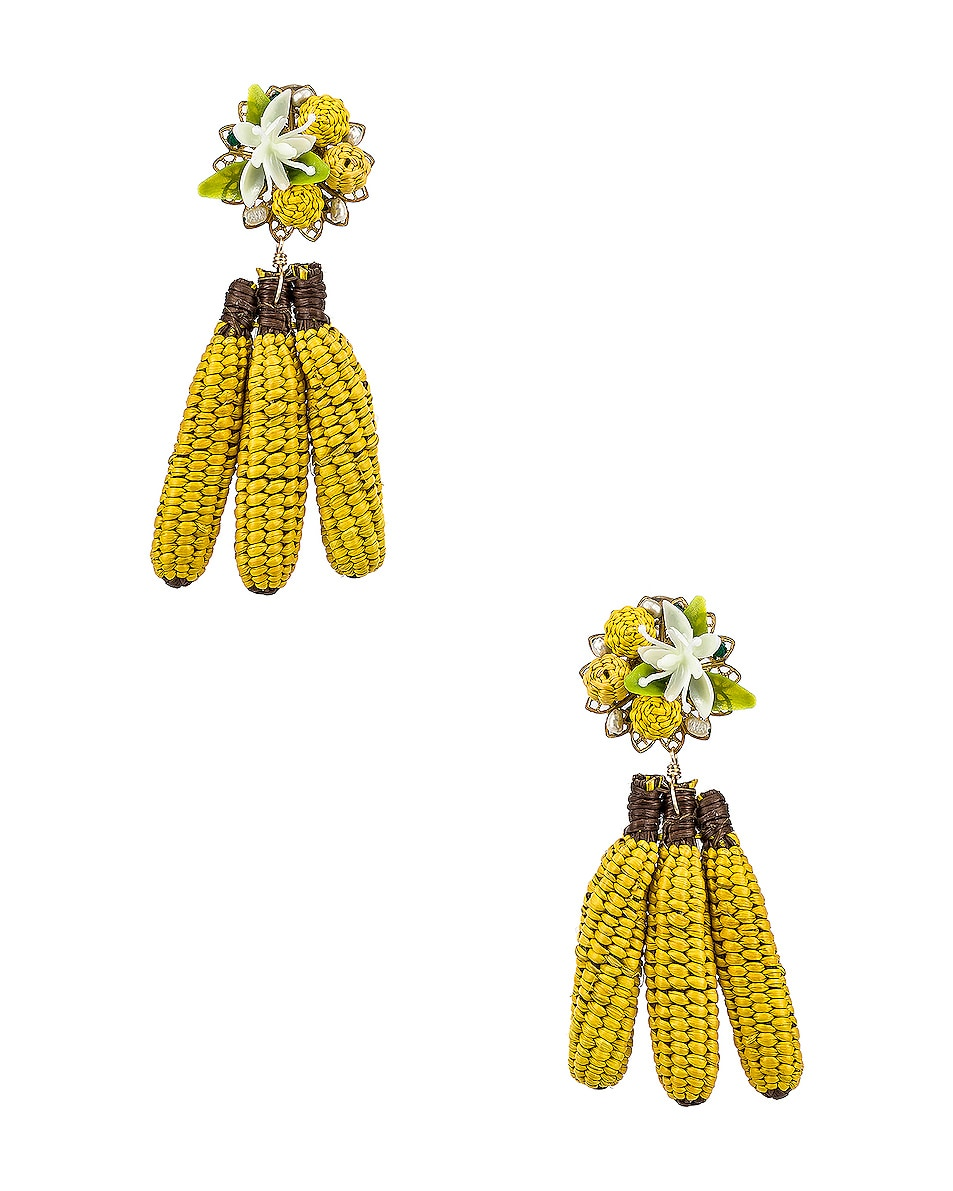 Image 1 of Mercedes Salazar Banana Tropics Earrings in Yellow