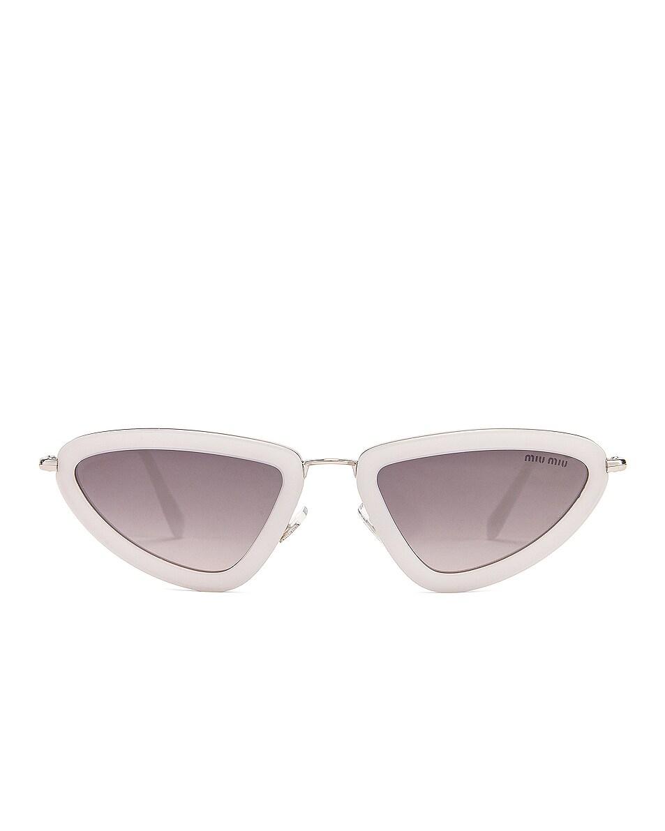 Image 1 of Miu Miu Skinny Sunglasses in Opal White