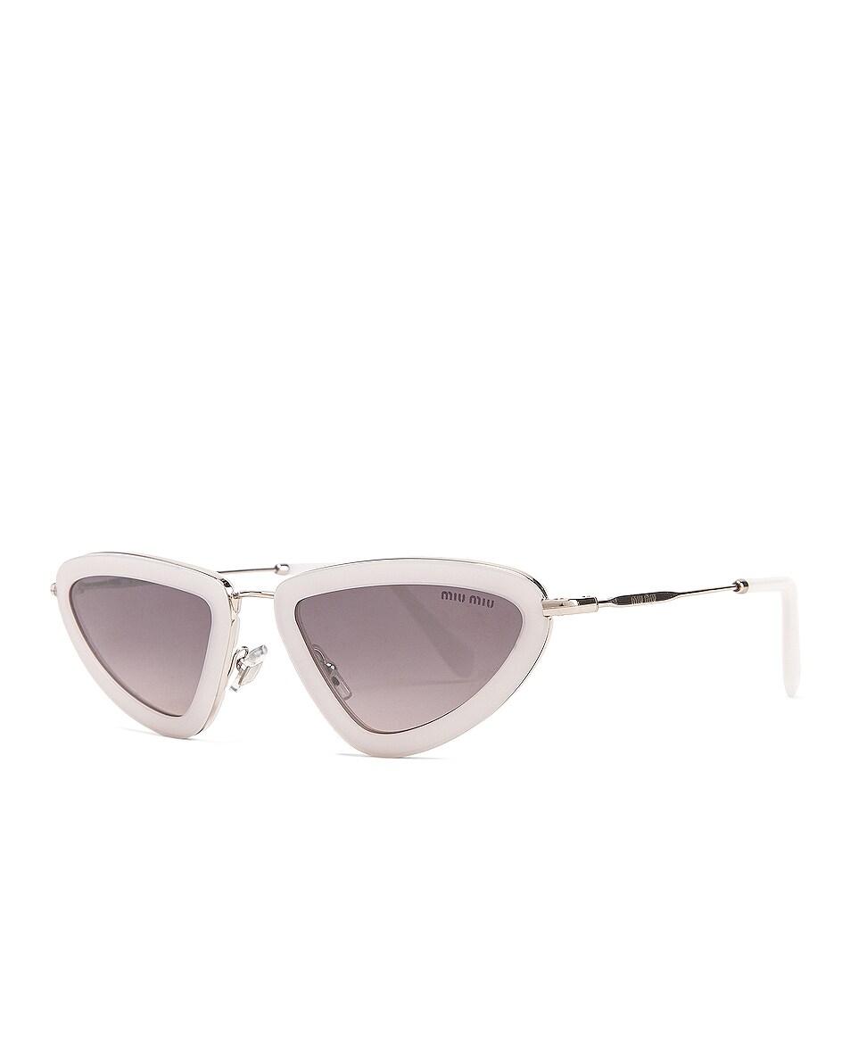 Image 2 of Miu Miu Skinny Sunglasses in Opal White