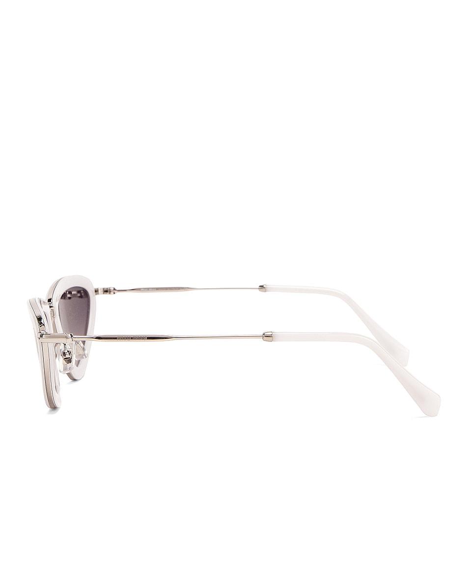 Image 3 of Miu Miu Skinny Sunglasses in Opal White