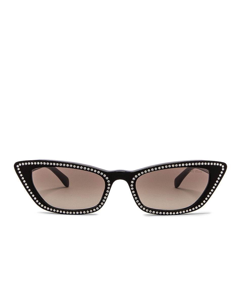Image 1 of Miu Miu Cat Eye Crystal Sunglasses in Black