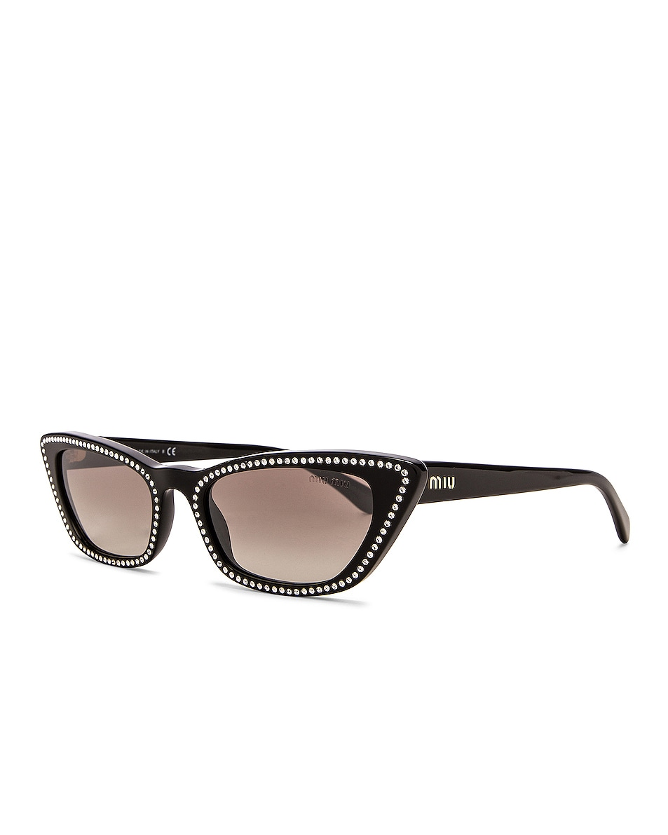 Image 2 of Miu Miu Cat Eye Crystal Sunglasses in Black