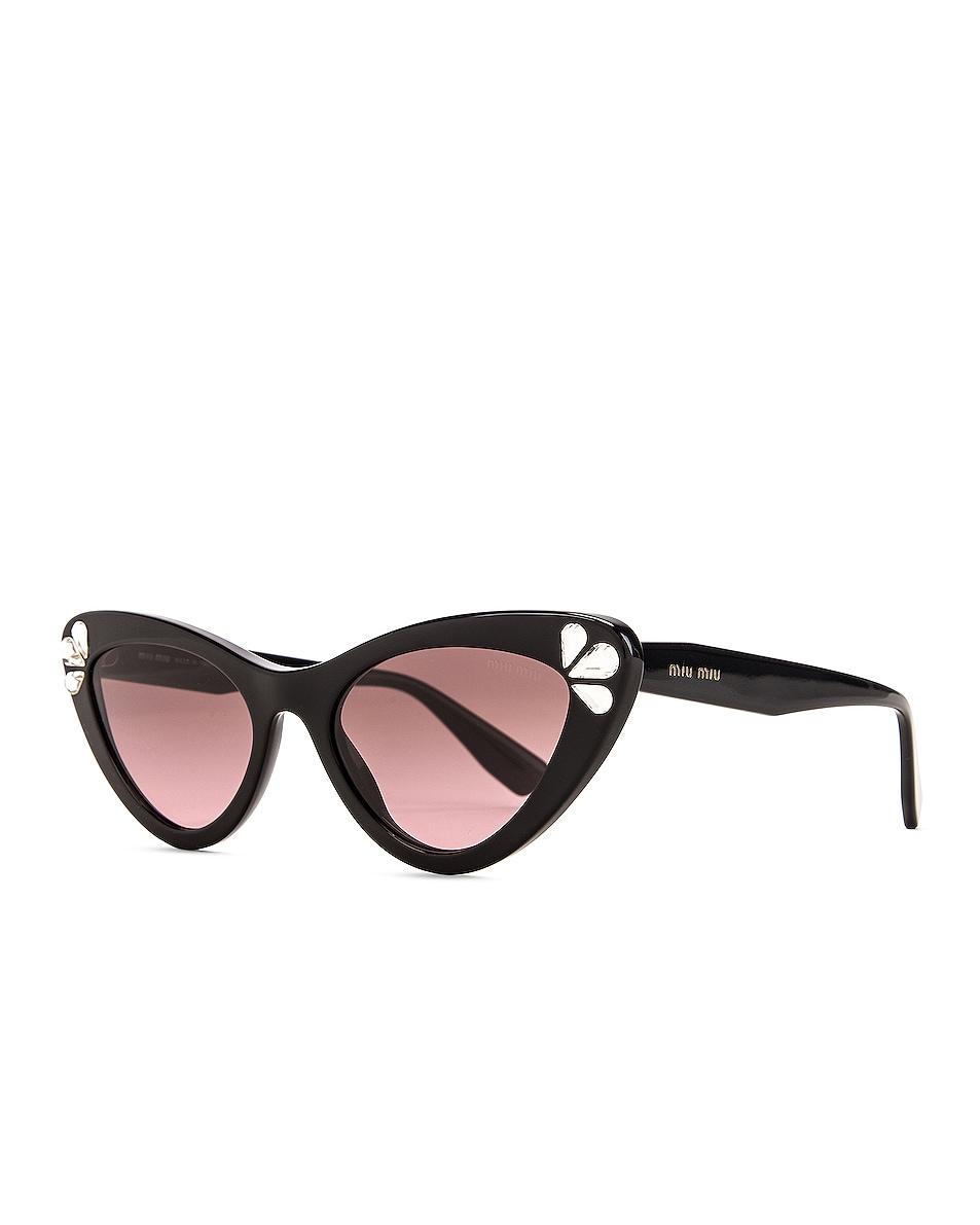 Image 2 of Miu Miu Cat Eye Sunglasses in Black & Crystals