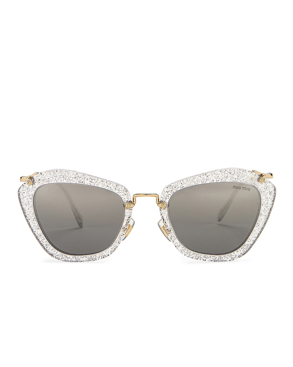 Image 1 of Miu Miu Cat Eye Sunglasses in Glitter Silver