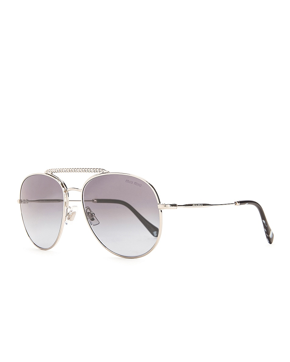 Image 2 of Miu Miu Aviator Sunglasses in Silver