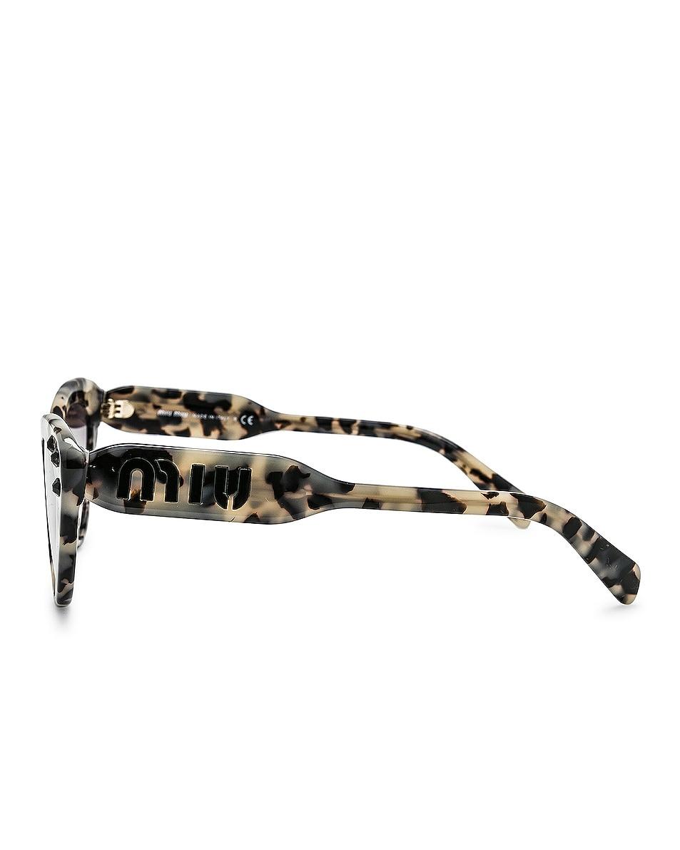 Image 3 of Miu Miu Logo Cat Eye Sunglasses in Sand Havana Moro & Grey