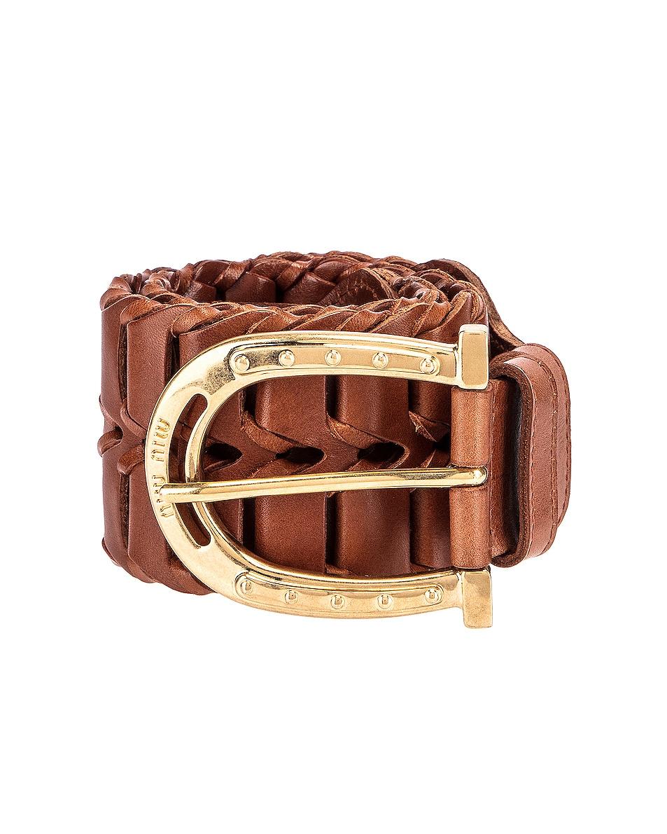 Image 1 of Miu Miu Wide Woven Leather Belt in Brown