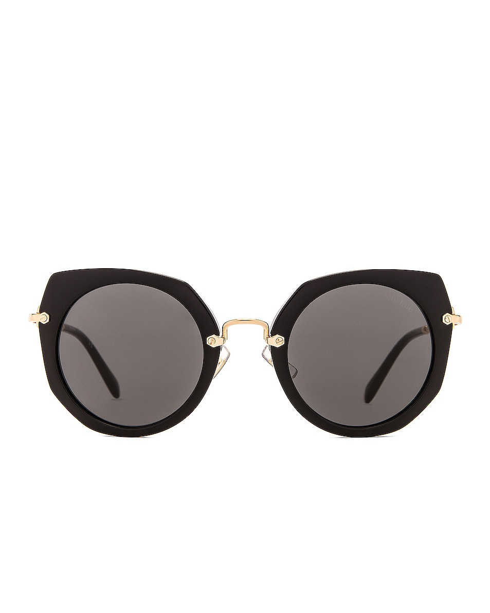 Image 1 of Miu Miu Acetate Angular Sunglasses in Black & Dark Grey
