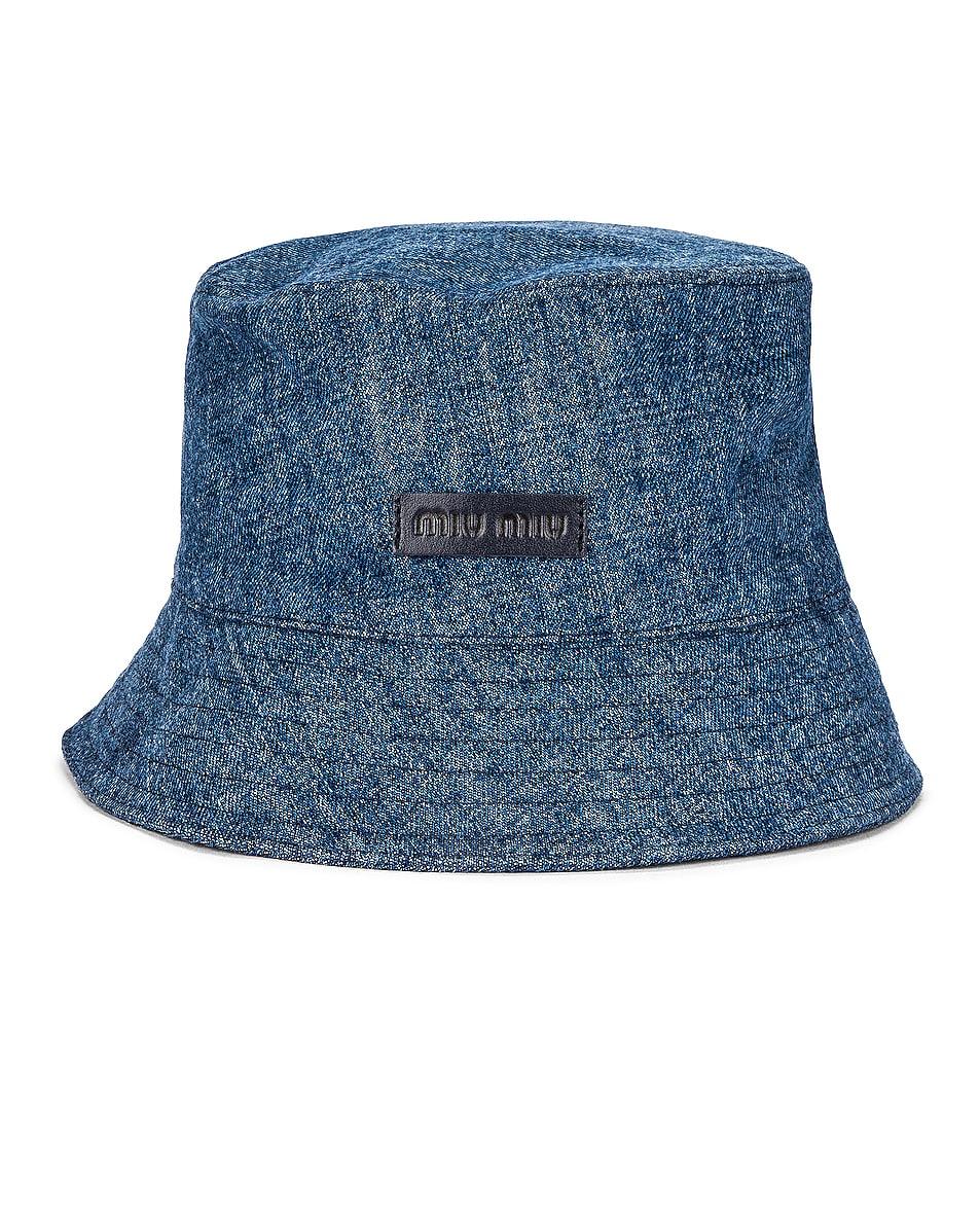 Image 1 of Miu Miu Denim Fisherman Hat in Bleu