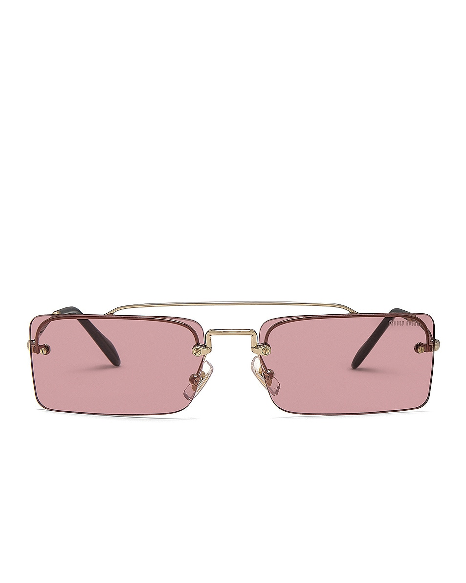 Image 1 of Miu Miu Skinny Square Sunglasses in Pale Gold & Violet