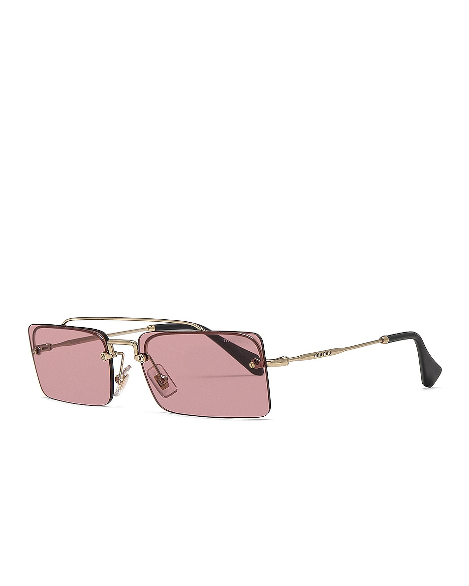 Image 2 of Miu Miu Skinny Square Sunglasses in Pale Gold & Violet