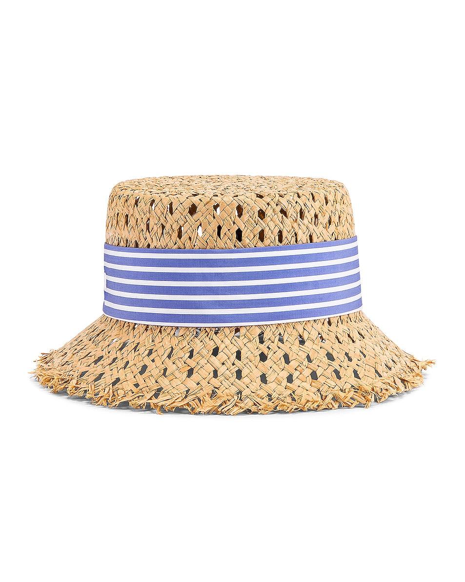 Image 1 of Miu Miu Straw Ribbon Hat in Naturale & Celeste