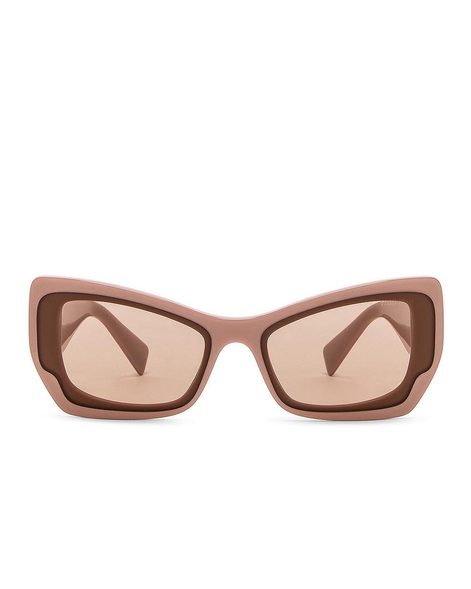 Image 1 of Miu Miu Bold Geometric Sunglasses in Pink Transparent