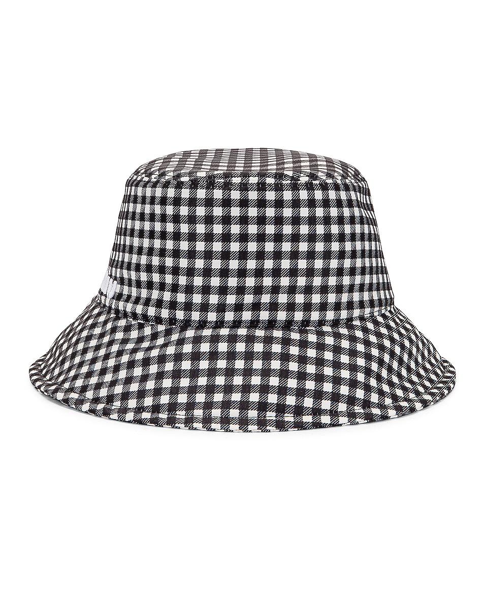 Image 1 of Miu Miu Gingham Bucket Hat in Nero & Bianco