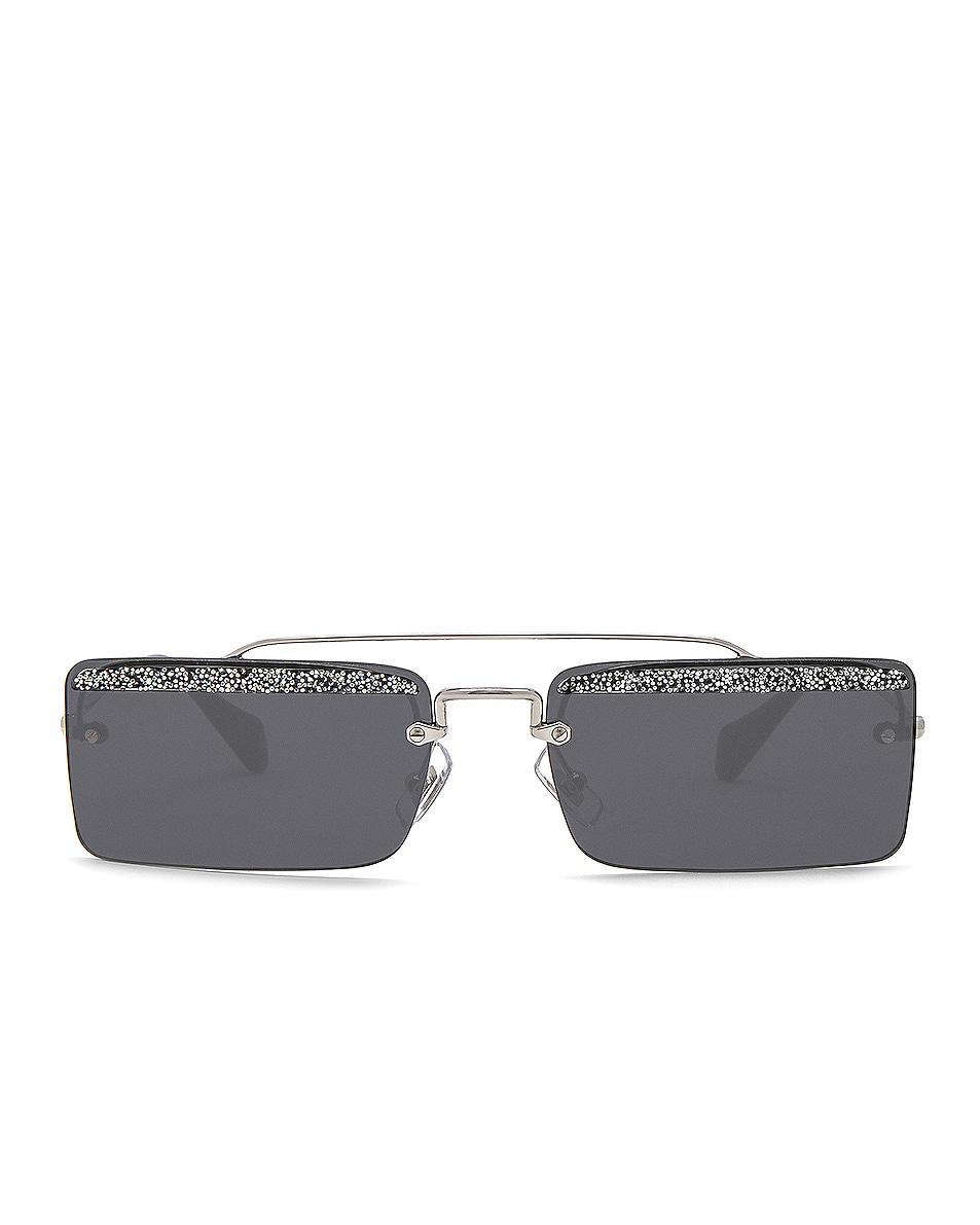 Image 1 of Miu Miu Embellished Skinny Square Sunglasses in Silver & Dark Grey