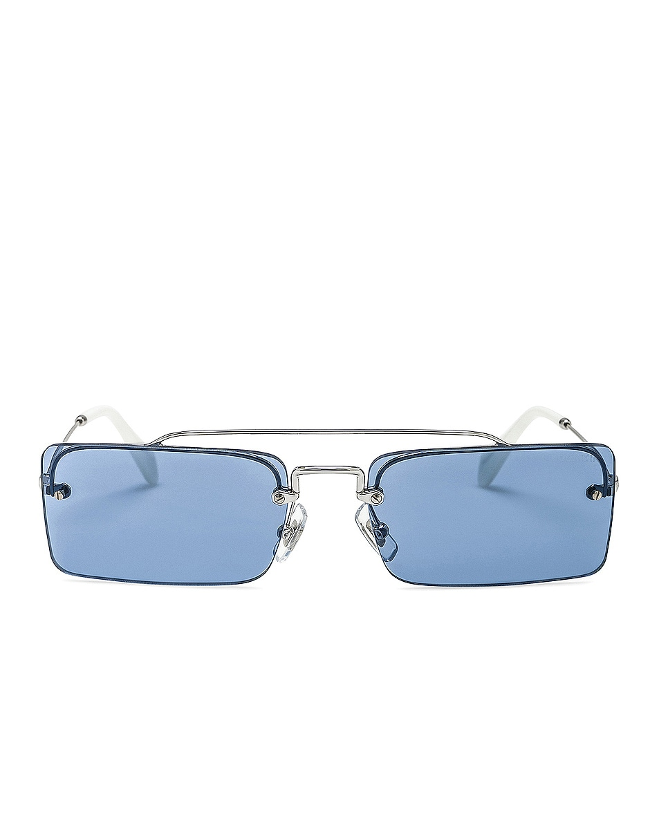 Image 1 of Miu Miu Skinny Square Sunglasses in Silver & Light Blue