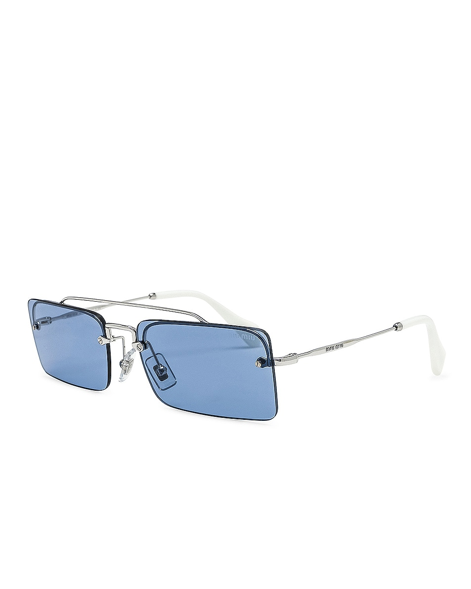 Image 2 of Miu Miu Skinny Square Sunglasses in Silver & Light Blue