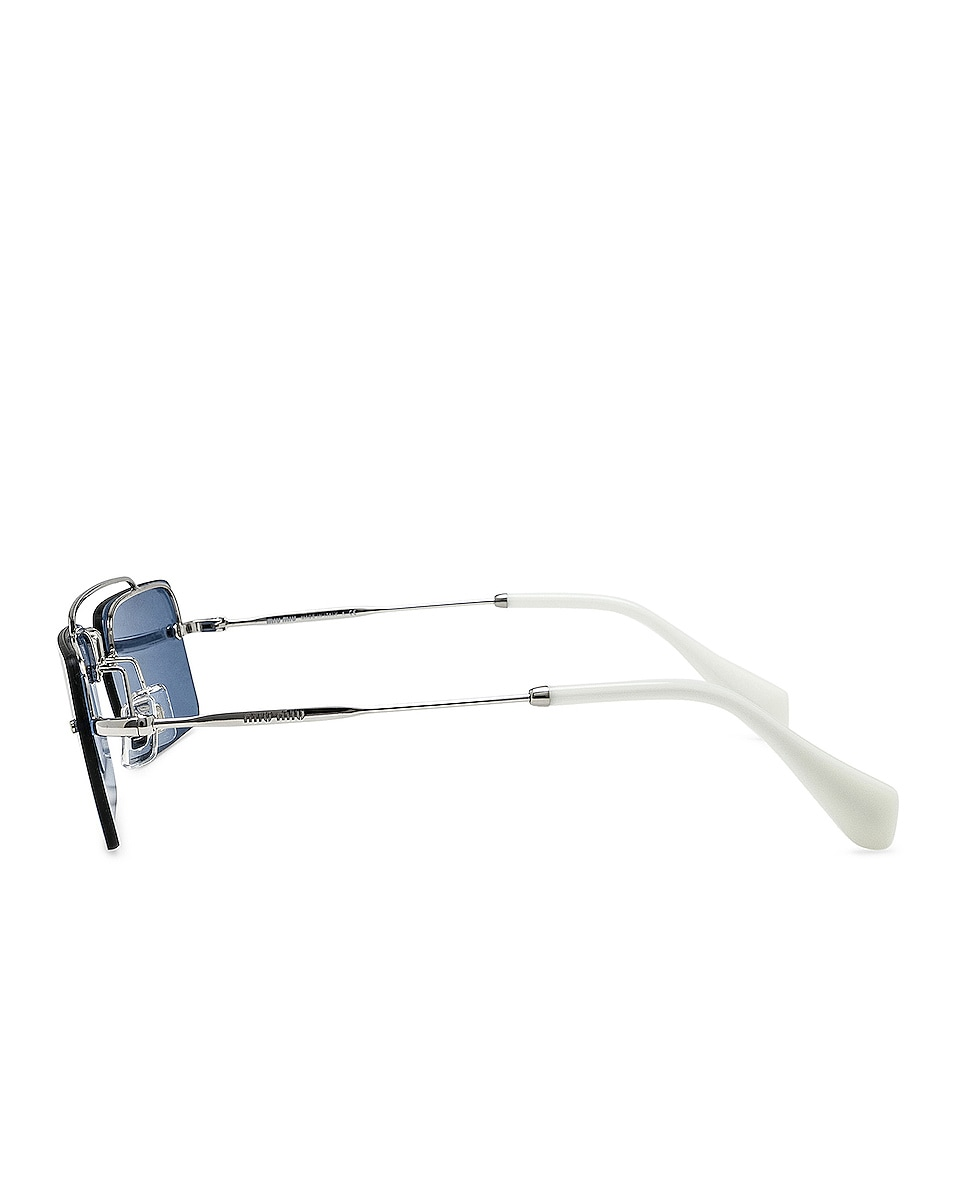 Image 3 of Miu Miu Skinny Square Sunglasses in Silver & Light Blue