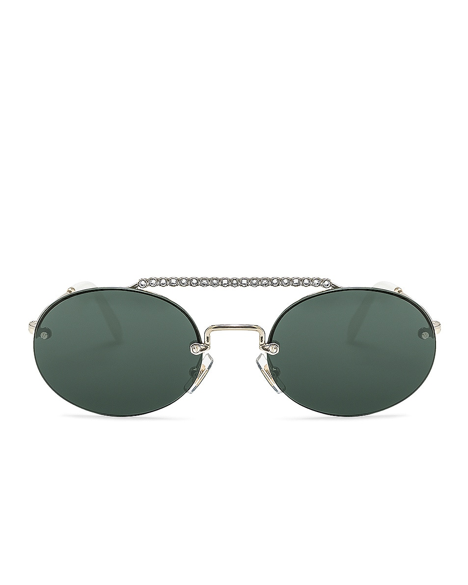 Image 1 of Miu Miu Embellished Oval Sunglasses in Pale Gold & Green