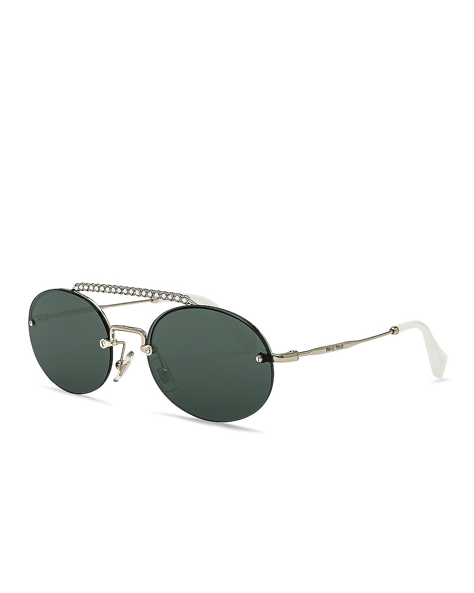 Image 2 of Miu Miu Embellished Oval Sunglasses in Pale Gold & Green
