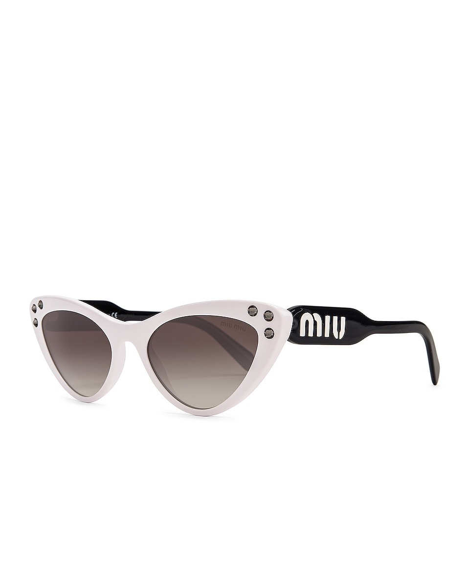 Image 2 of Miu Miu Embellished Cat Eye Sunglasses in White