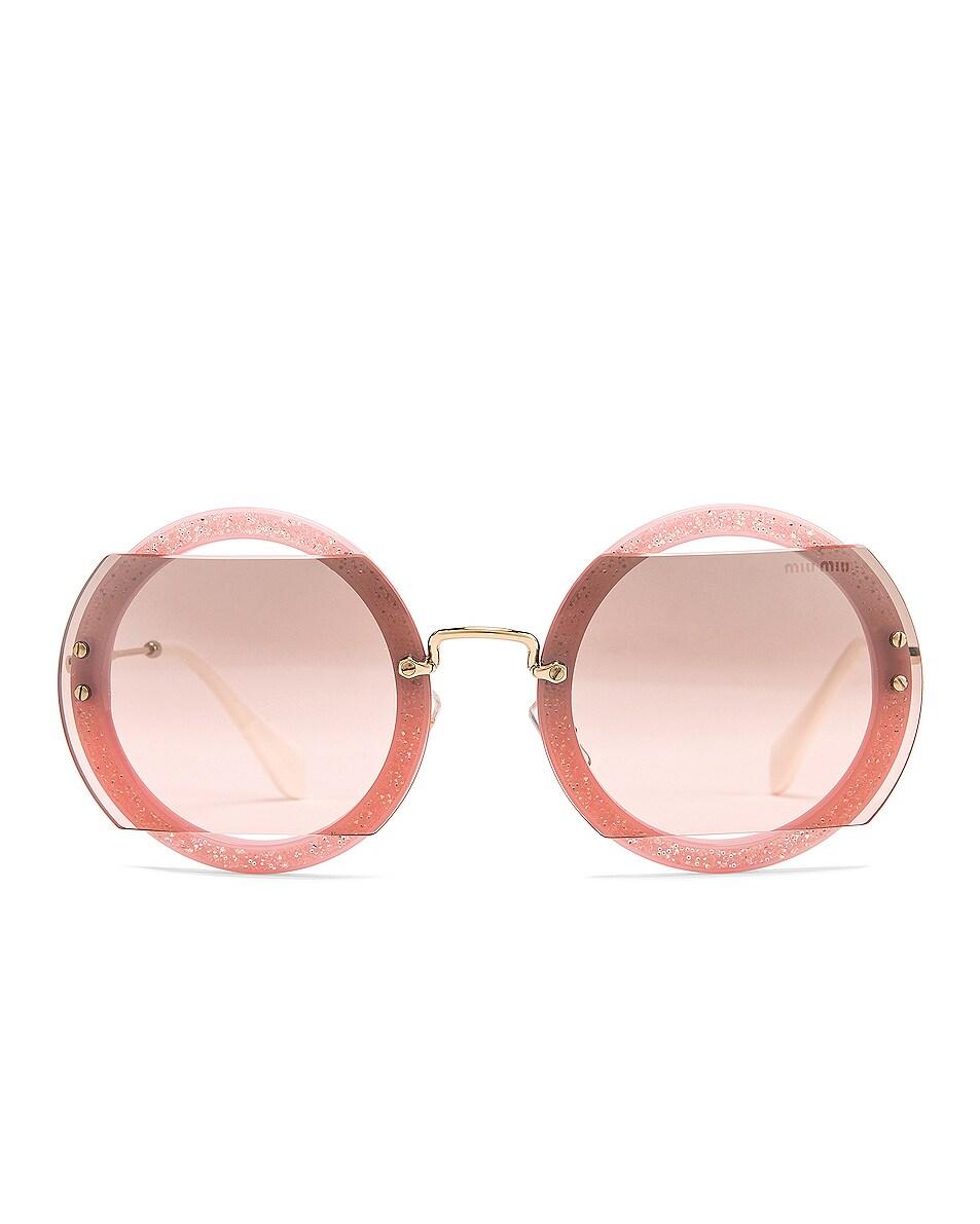 6fd9d0828b64 Image 1 of Miu Miu Glitter Square Sunglasses in Rose