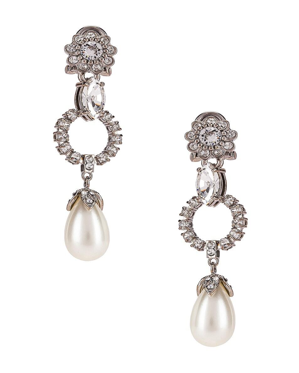Image 1 of Miu Miu Drop Earrings in Cream & Crystal