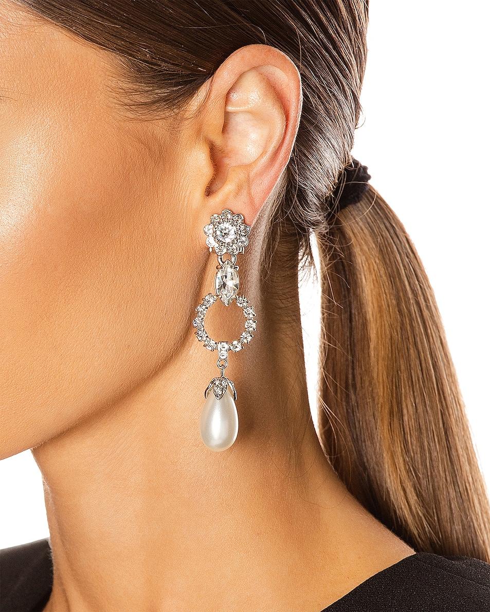 Image 2 of Miu Miu Drop Earrings in Cream & Crystal