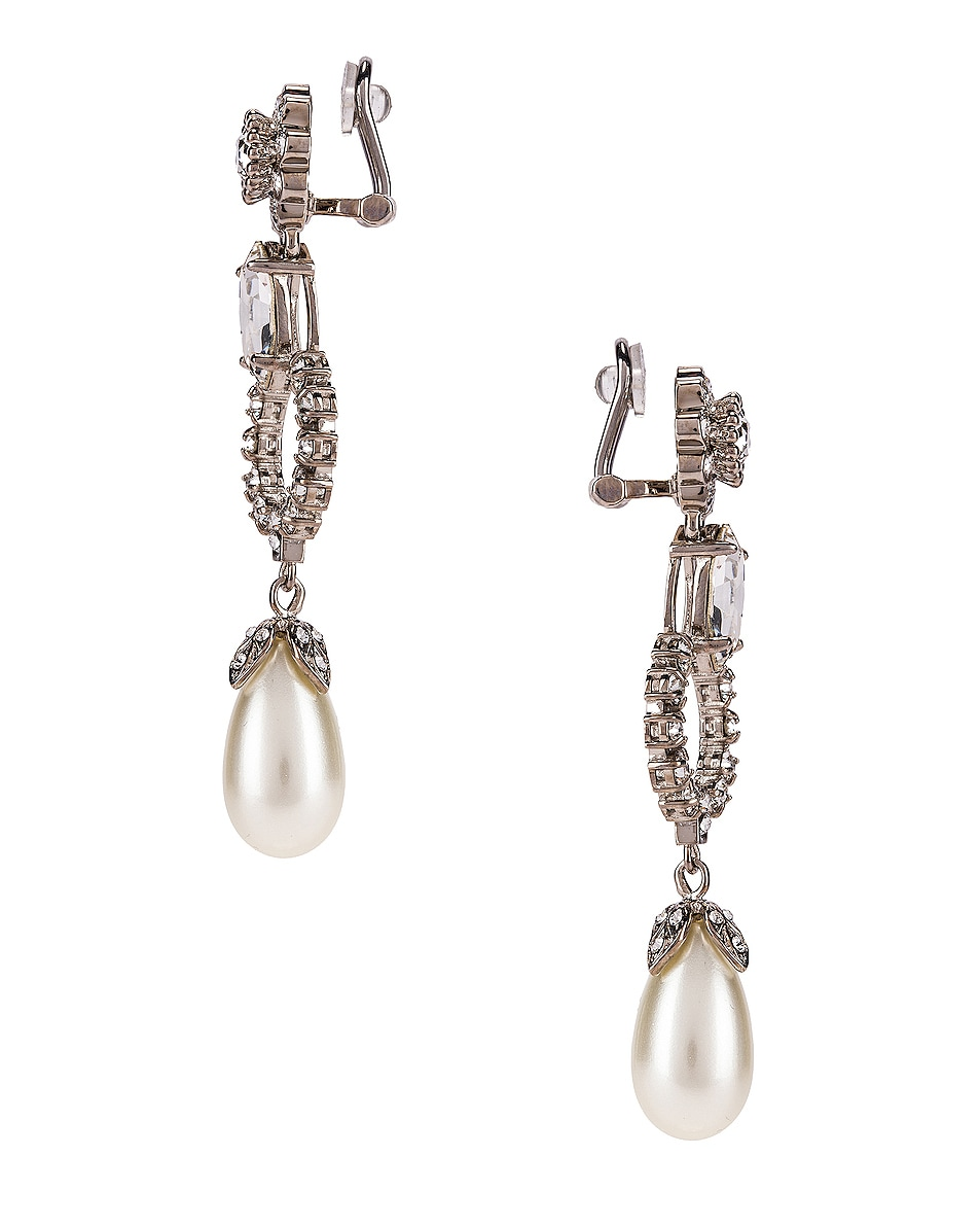 Image 3 of Miu Miu Drop Earrings in Cream & Crystal
