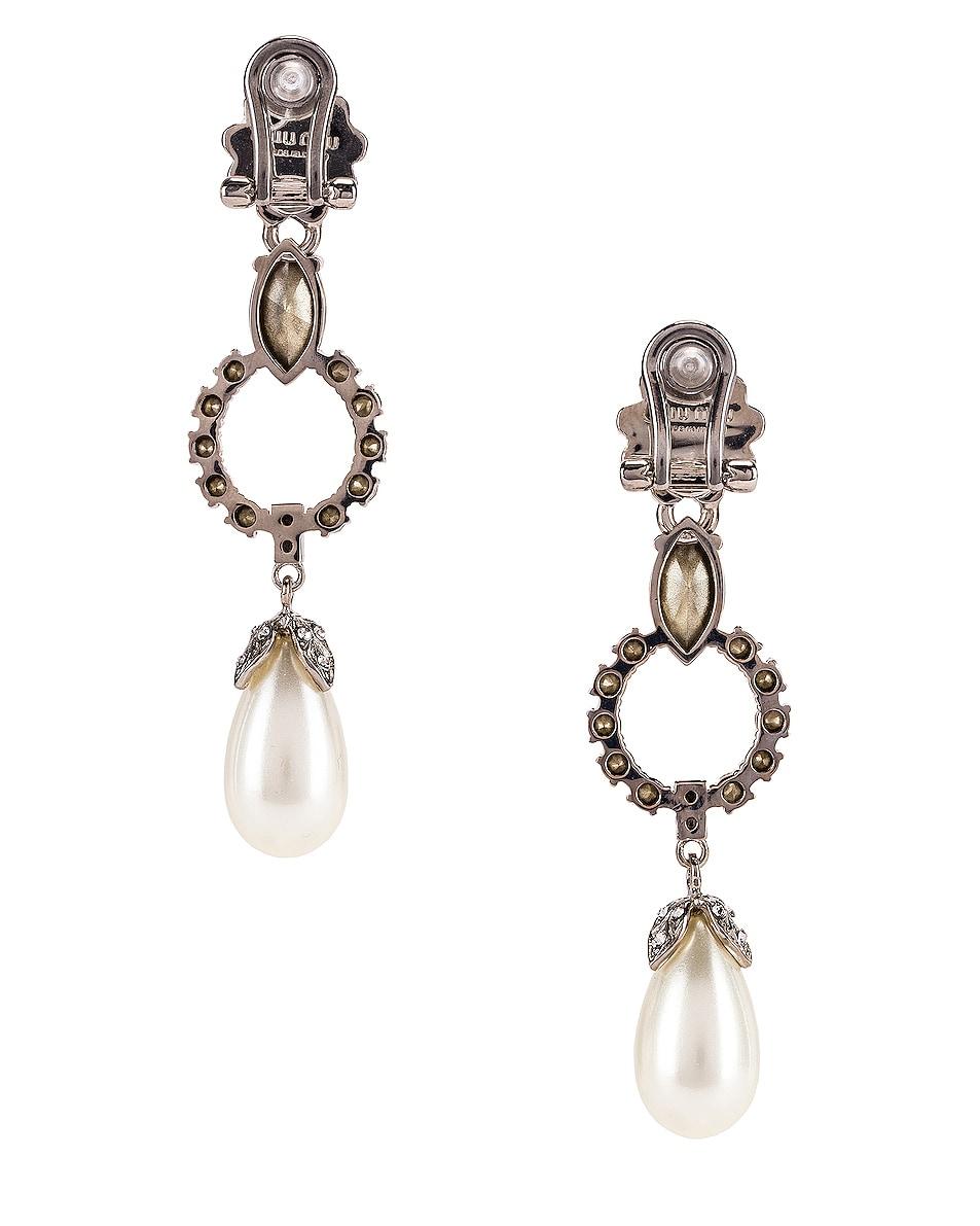 Image 4 of Miu Miu Drop Earrings in Cream & Crystal