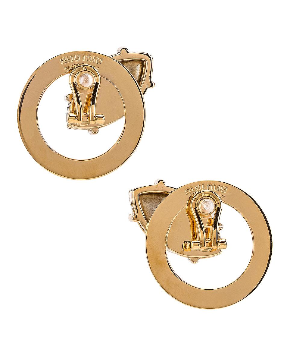 Image 4 of Miu Miu Stud Earrings in Gold & Crystal