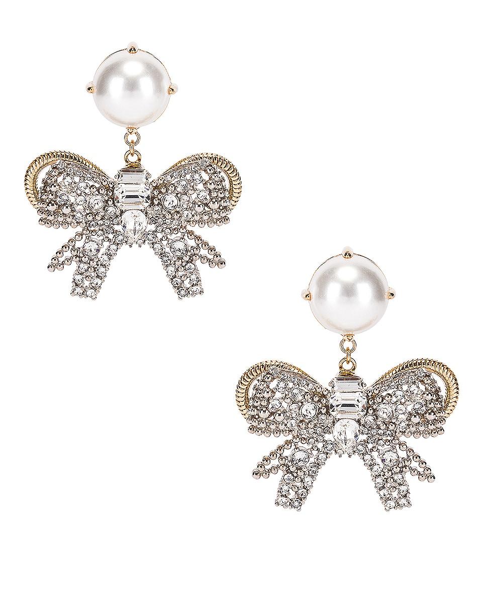 Image 1 of Miu Miu Pearl Bow Earrings in White & Crystal