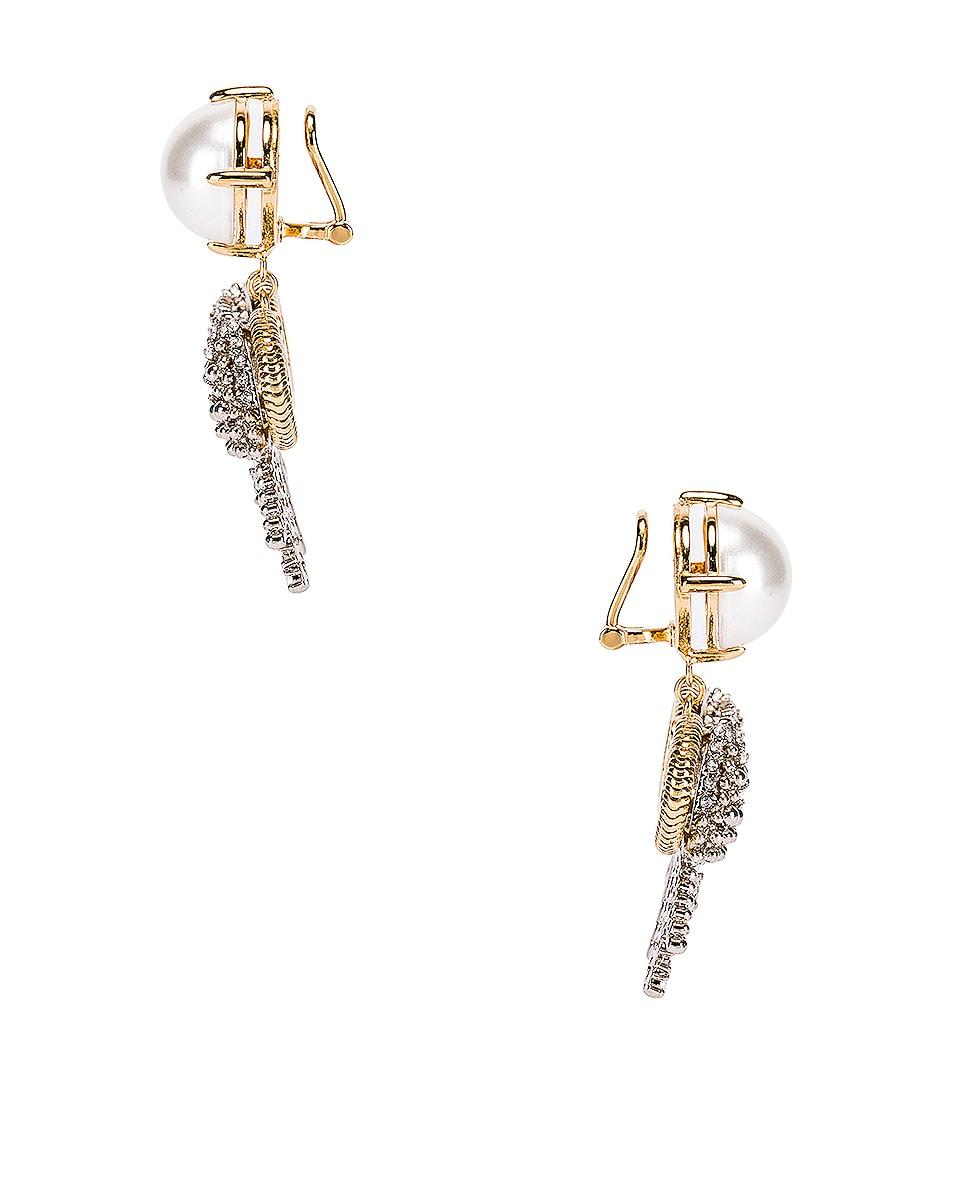 Image 3 of Miu Miu Pearl Bow Earrings in White & Crystal